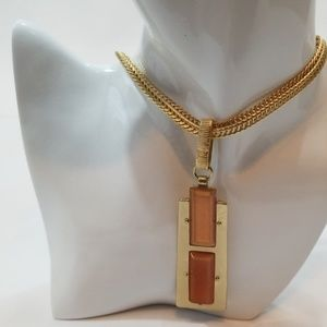 Chico's  Long Gold Tone and Orange Necklace